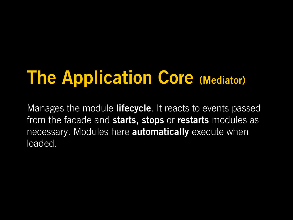 The Application Core (Mediator) Manages the mod...