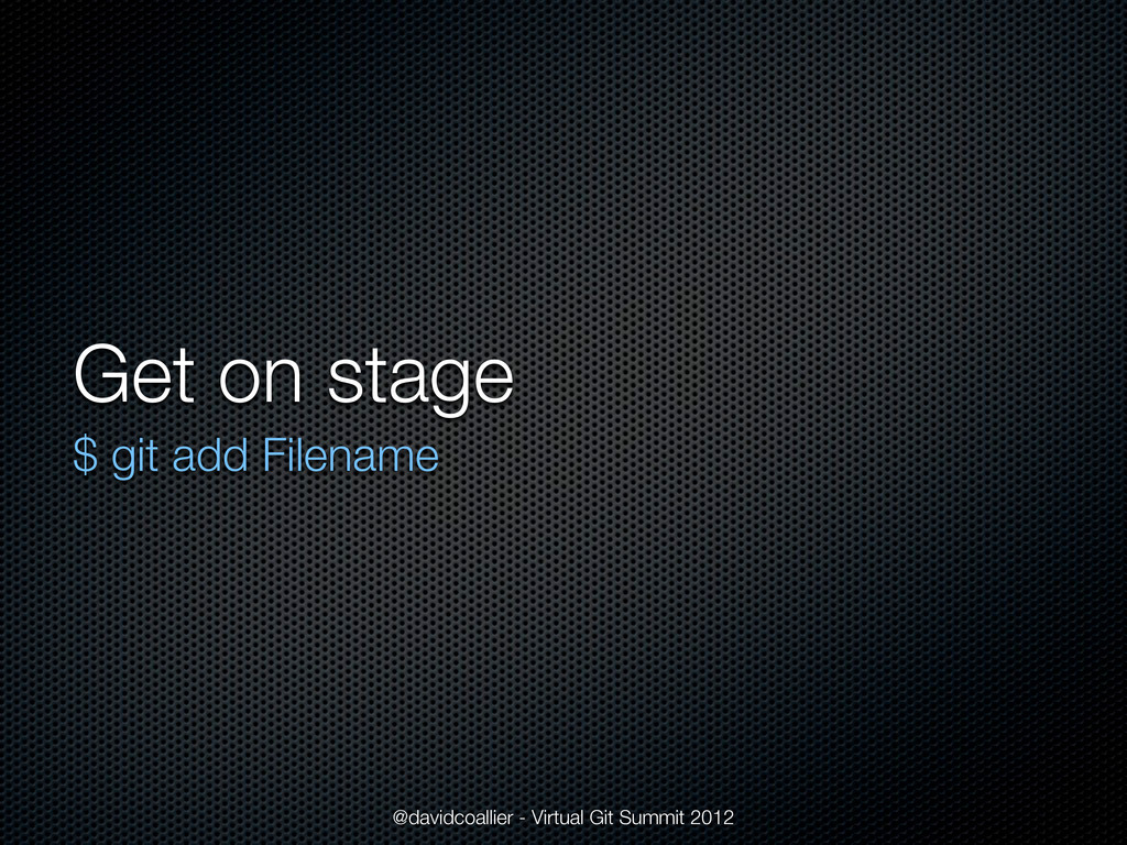 Get on stage $ git add Filename @davidcoallier ...