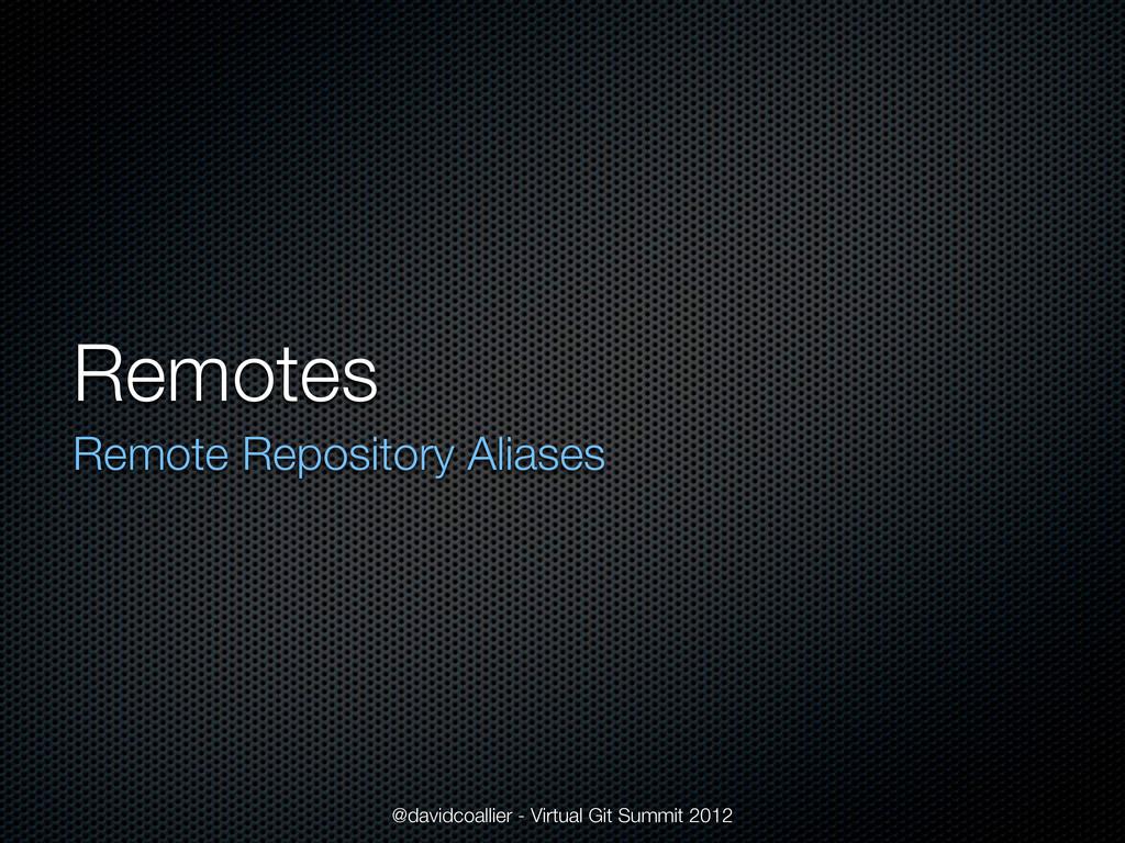 Remotes Remote Repository Aliases @davidcoallie...
