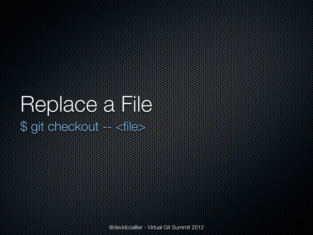 Replace a File $ git checkout -- <file> @davidco...