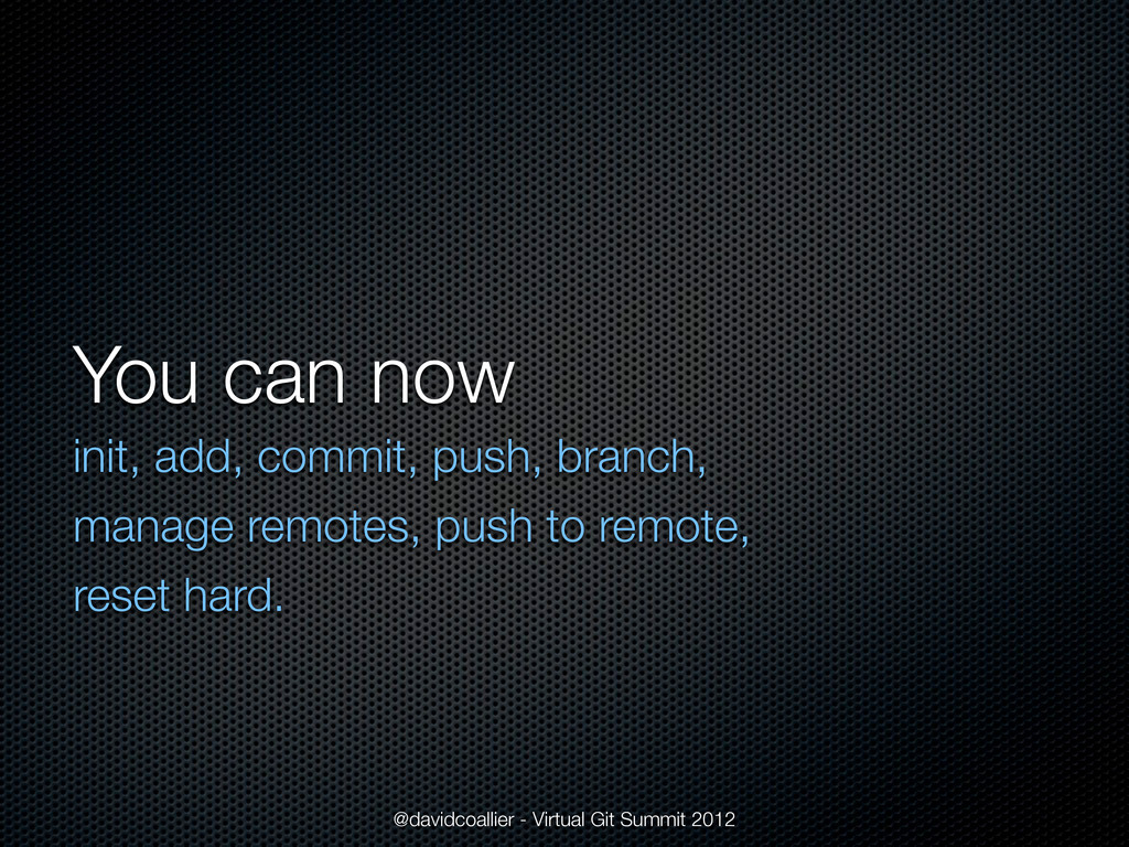 You can now init, add, commit, push, branch, ma...