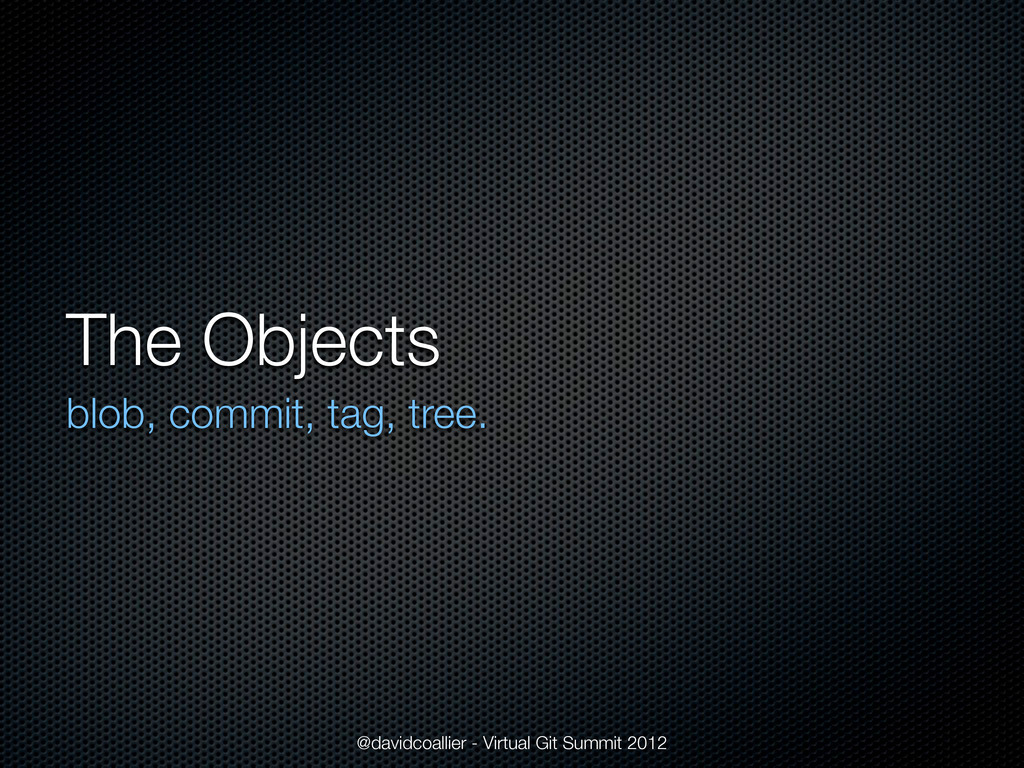 The Objects blob, commit, tag, tree. @davidcoal...