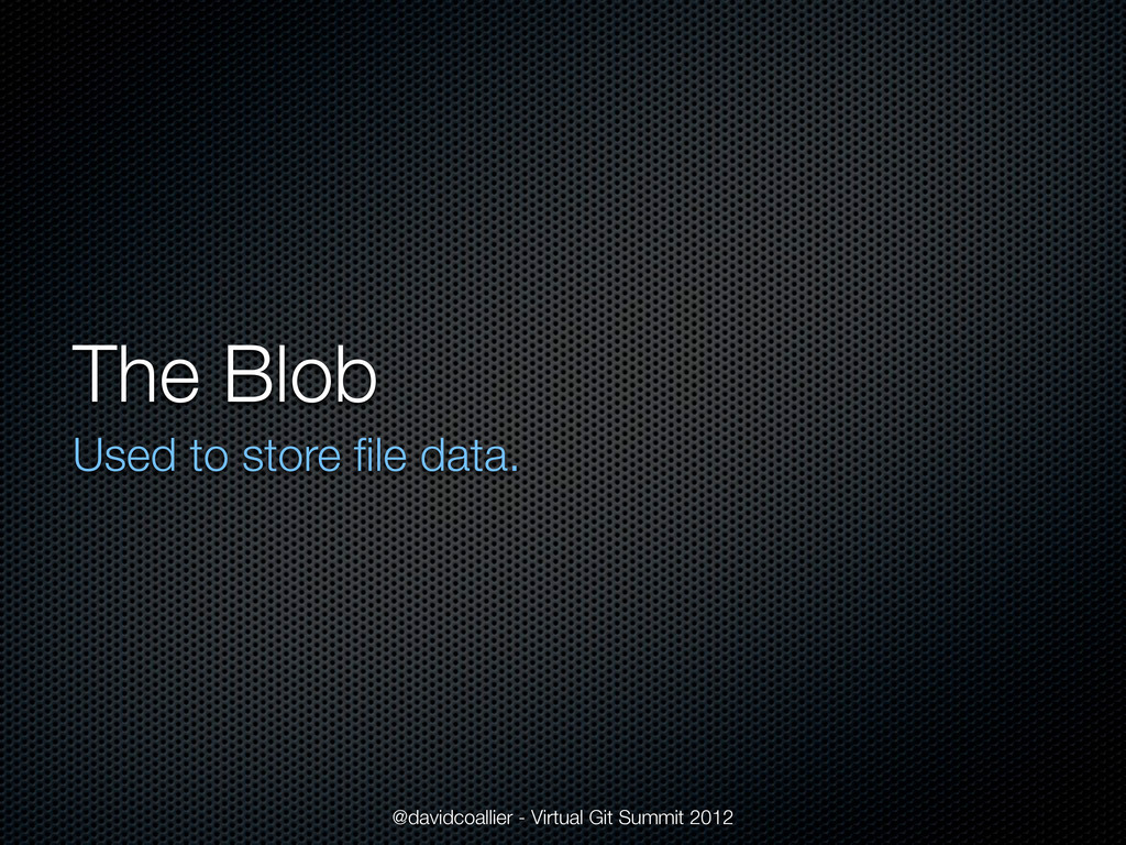 The Blob Used to store file data. @davidcoallier...