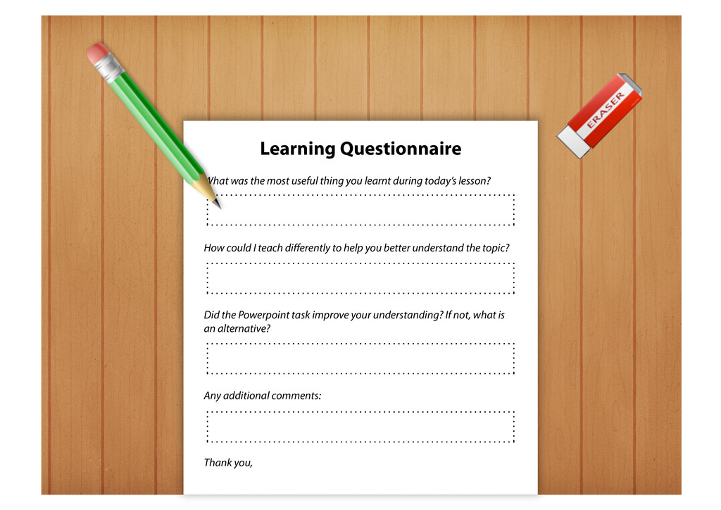 Learning Questionnaire What was the most useful...