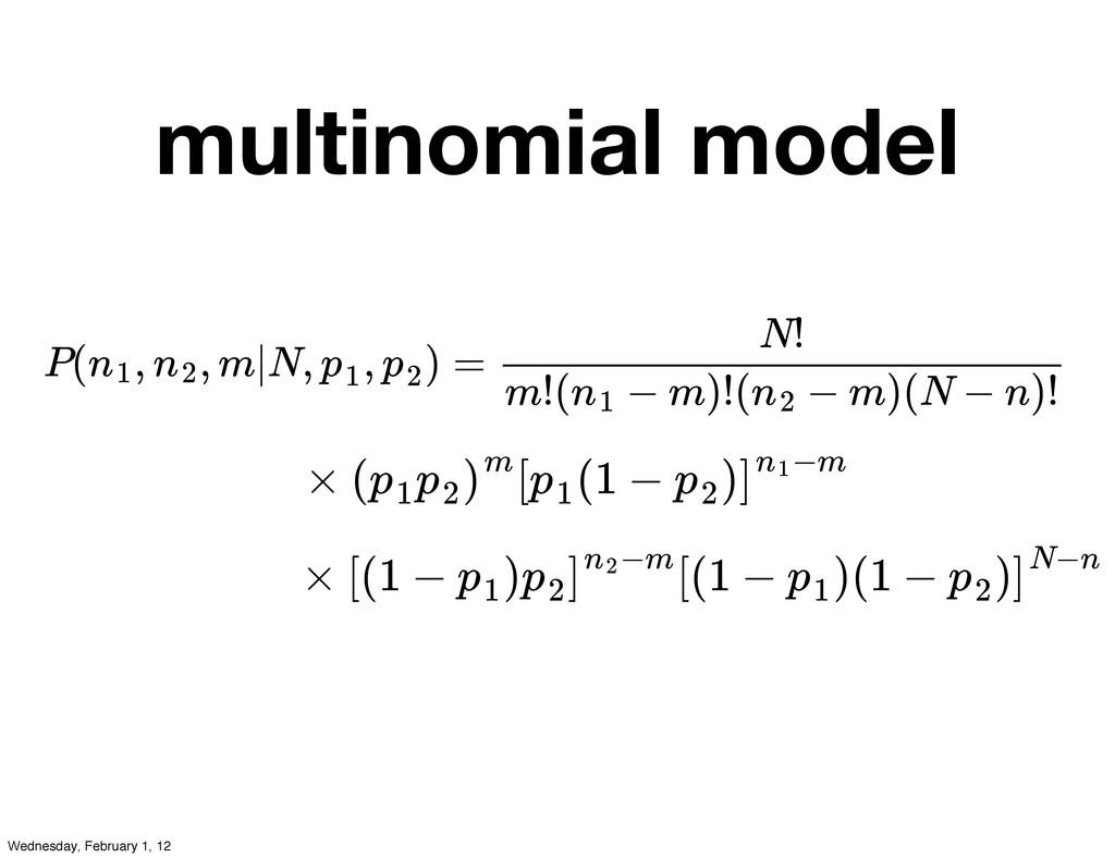 multinomial model P( , , m|N, , ) = n1 n2 p1 p2...