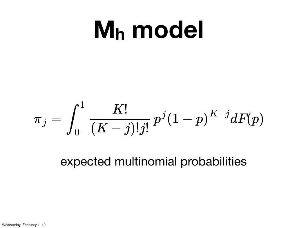 Mh model expected multinomial probabilities = (...