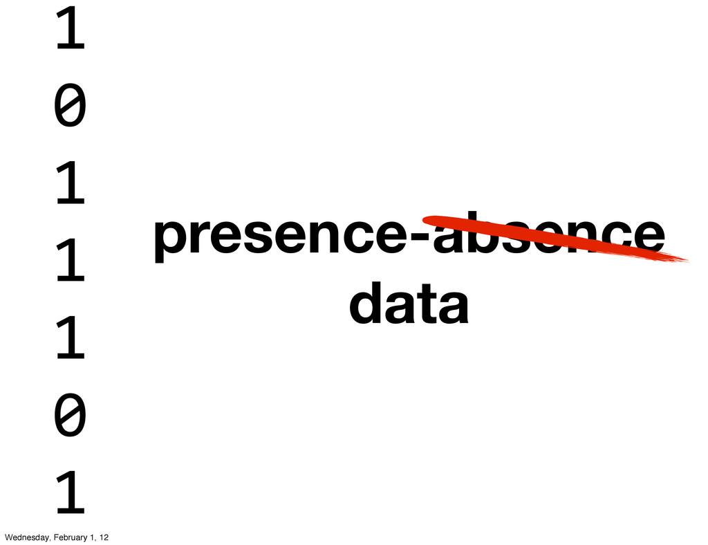presence-absence data 1 0 1 1 1 0 1 Wednesday, ...