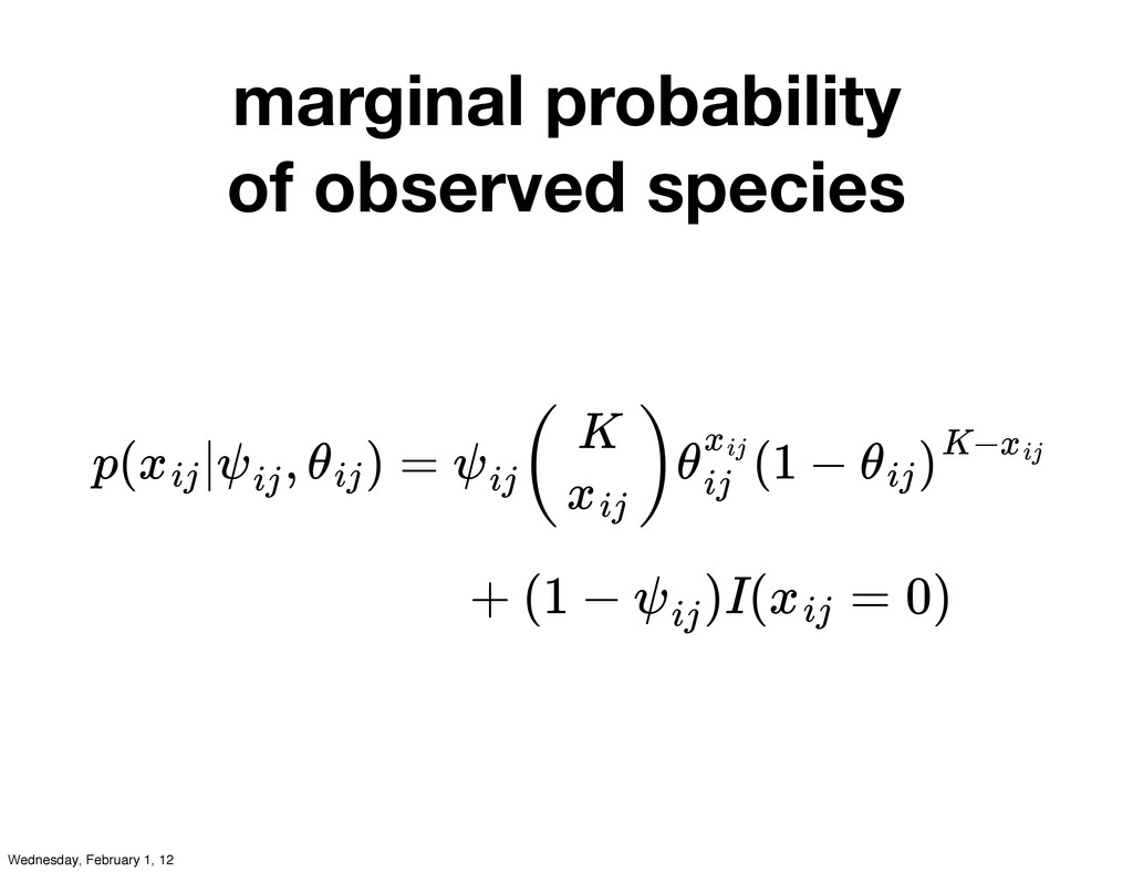 marginal probability of observed species p( | ,...