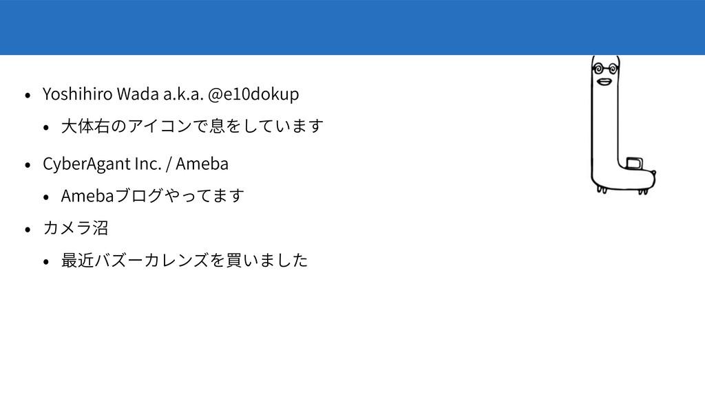Yoshihiro Wada a.k.a. @e10dokup CyberAgant Inc....