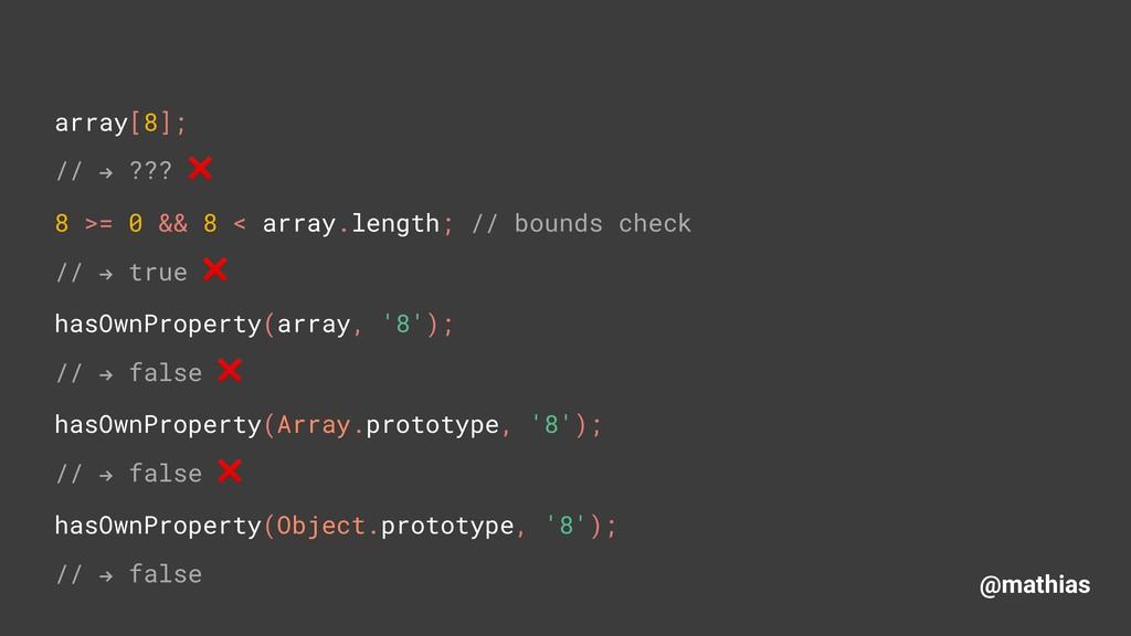 """@mathias array[8]; // """" ??? ❌ 8 >= 0 && 8 < a..."""