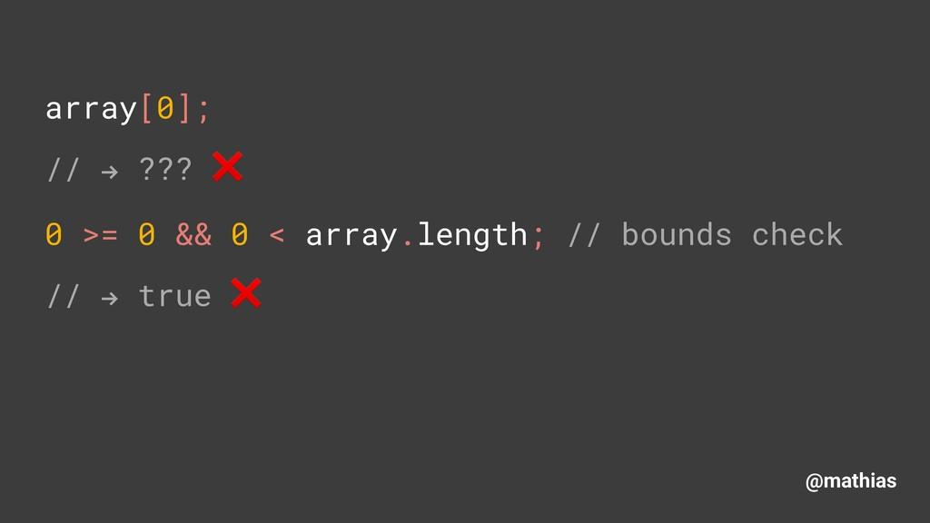 """@mathias array[0]; // """" ??? ❌ 0 >= 0 && 0 < ar..."""