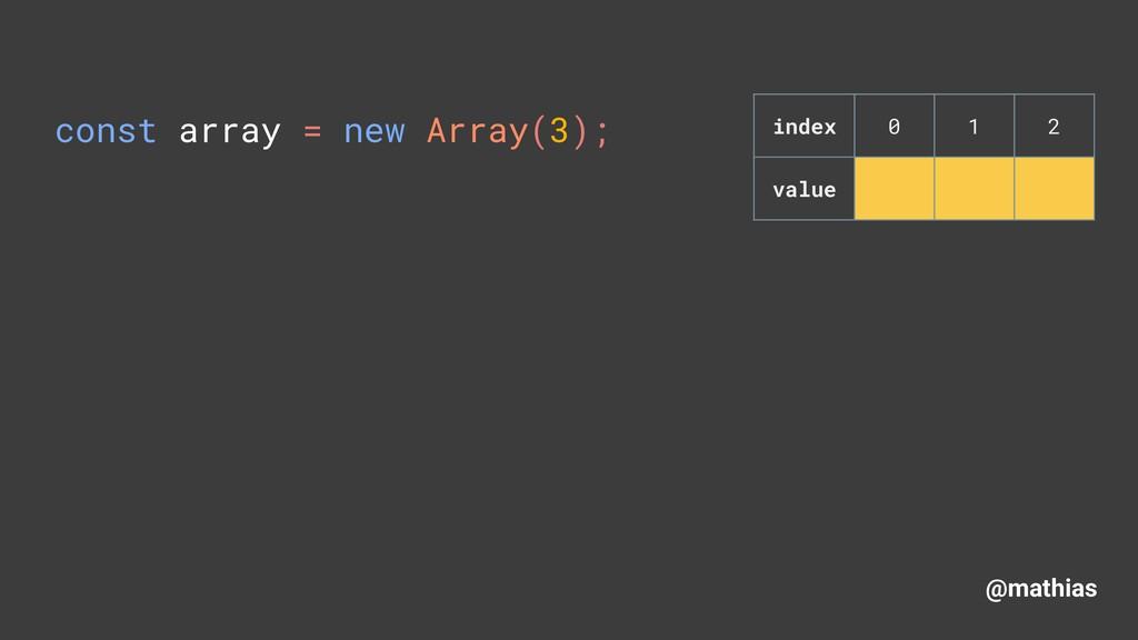 @mathias const array = new Array(3); index 0 1...