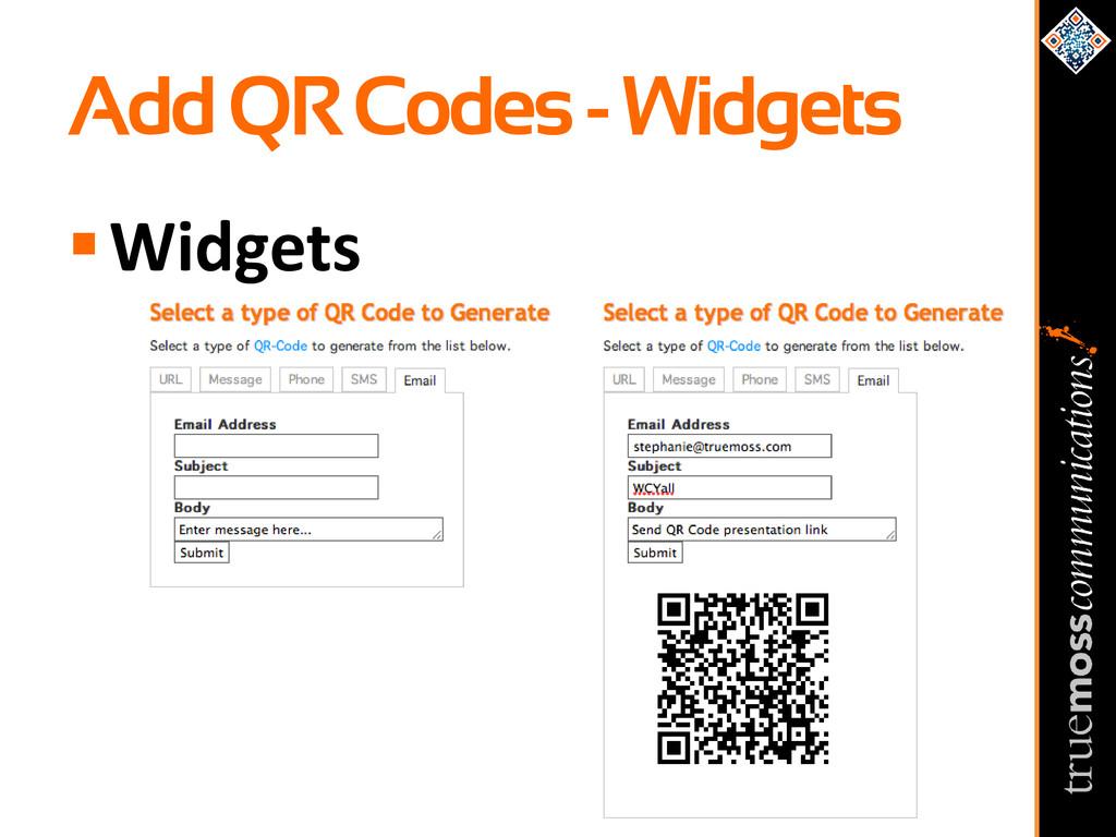 Add QR Codes - Widgets Widgets