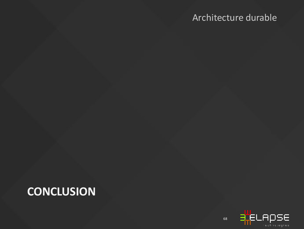 CONCLUSION 68 Architecture durable