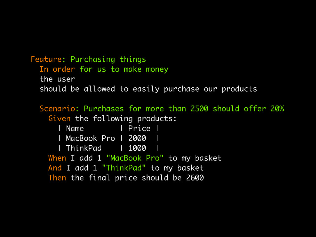 Feature: Purchasing things In order for us to m...