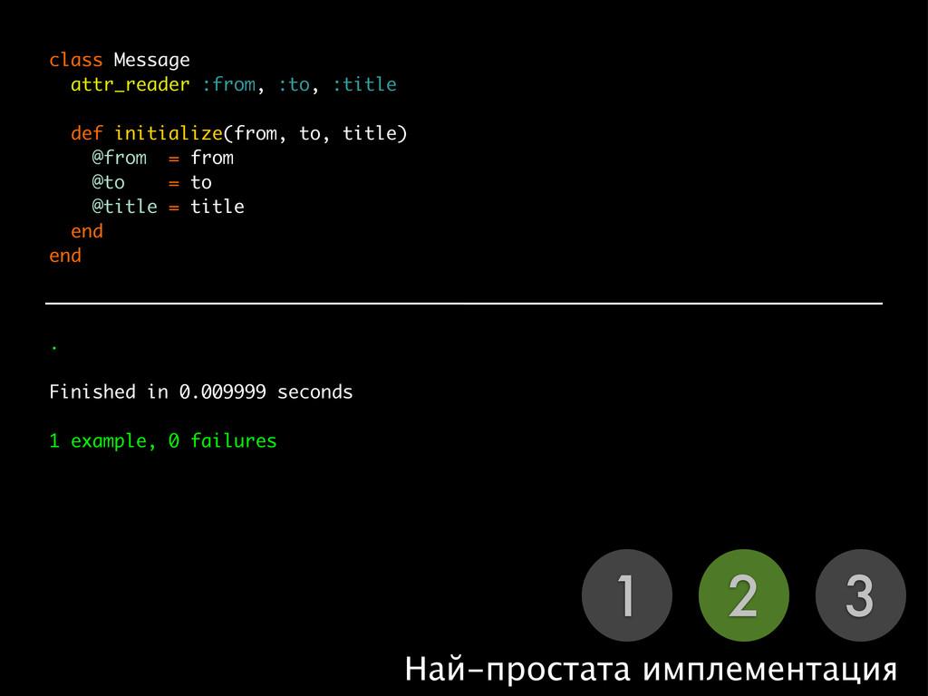 1 2 3 Най-простата имплементация class Message ...