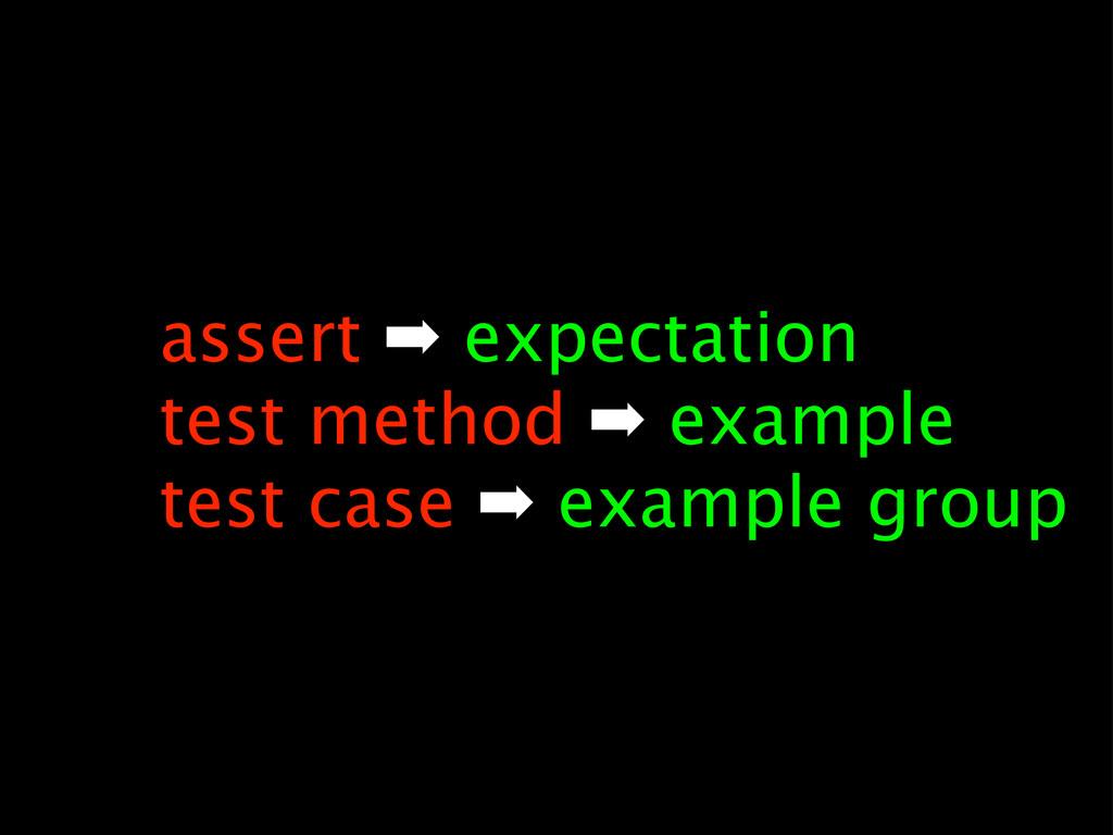 assert ➡ expectation test method ➡ example test...