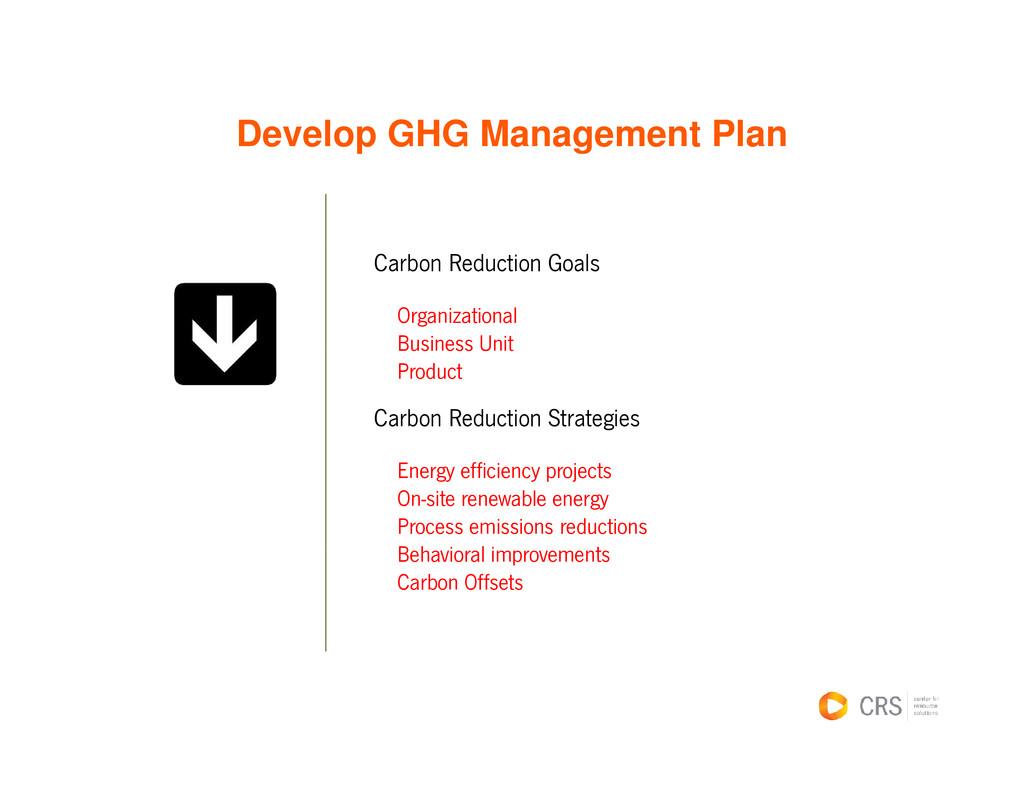 Develop GHG Management Plan e e op G G a age e ...