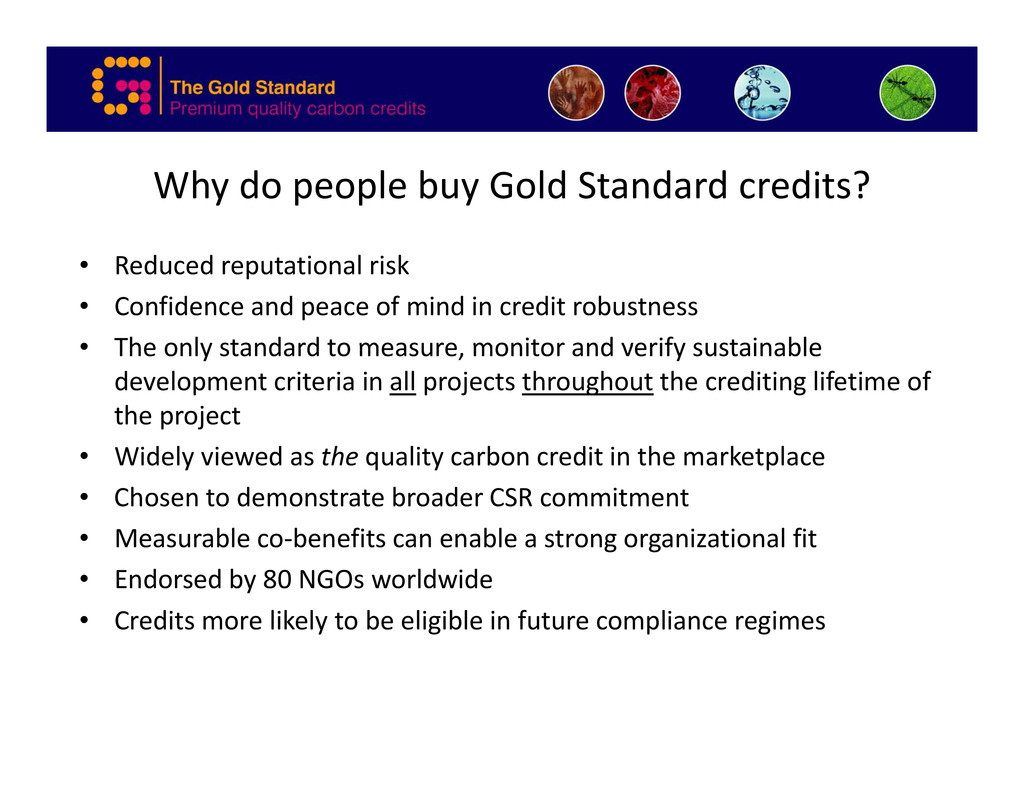 Why do people buy Gold Standard credits? • Redu...