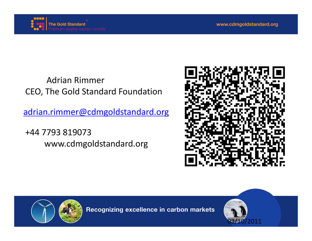Adrian Rimmer CEO, The Gold Standard Foundation...