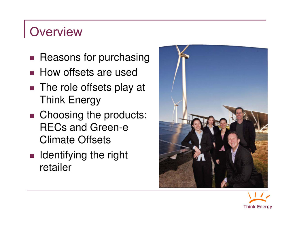 """Overview """" Reasons for purchasing How offsets a..."""