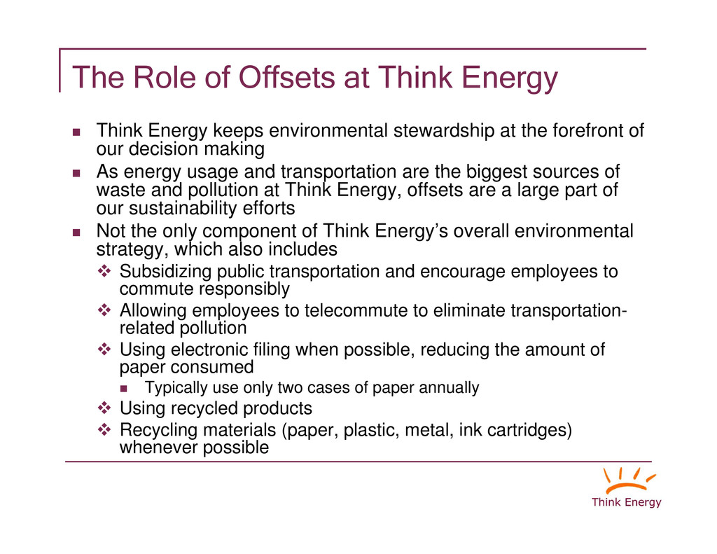 """The Role of Offsets at Think Energy """" Think Ene..."""