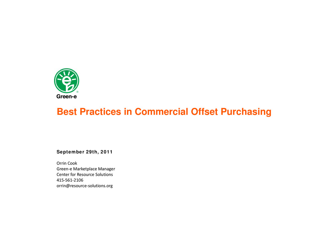 Best Practices in Commercial Offset Purchasing ...