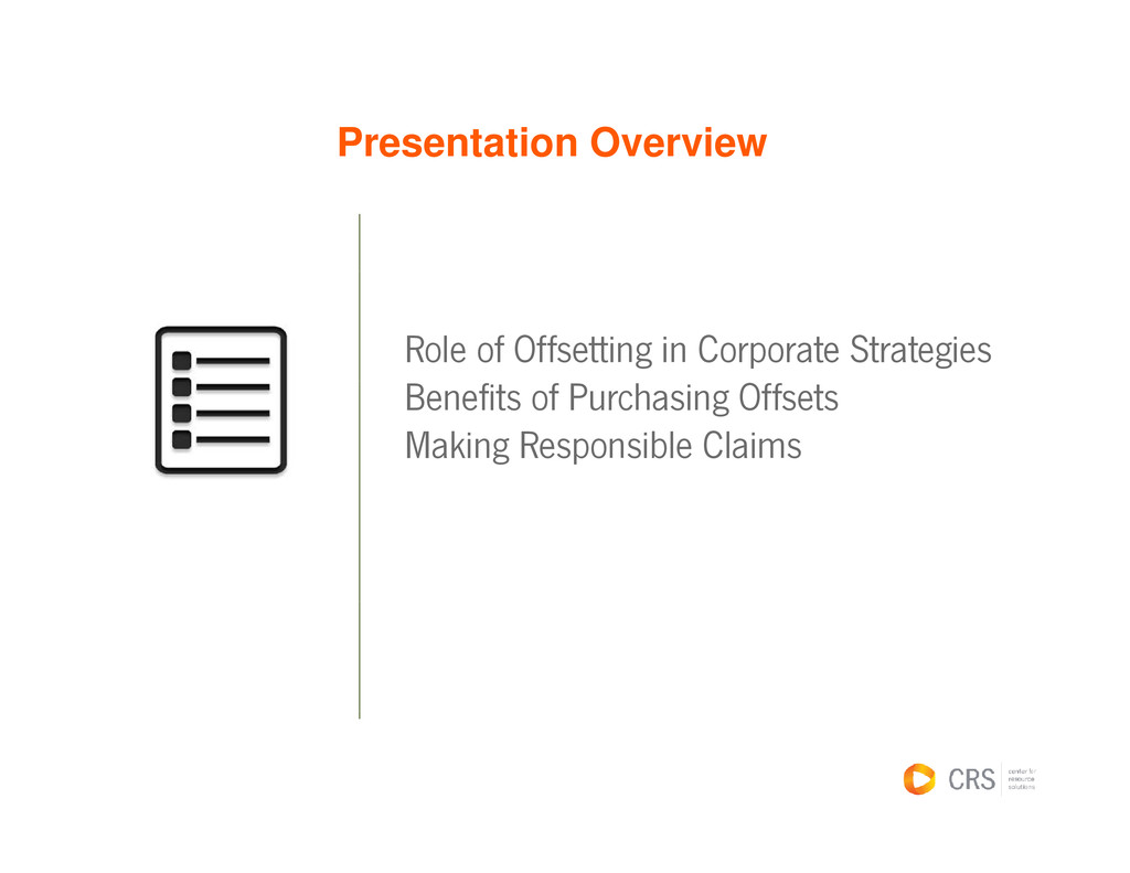 Presentation Overview Role of Offsetting in Cor...