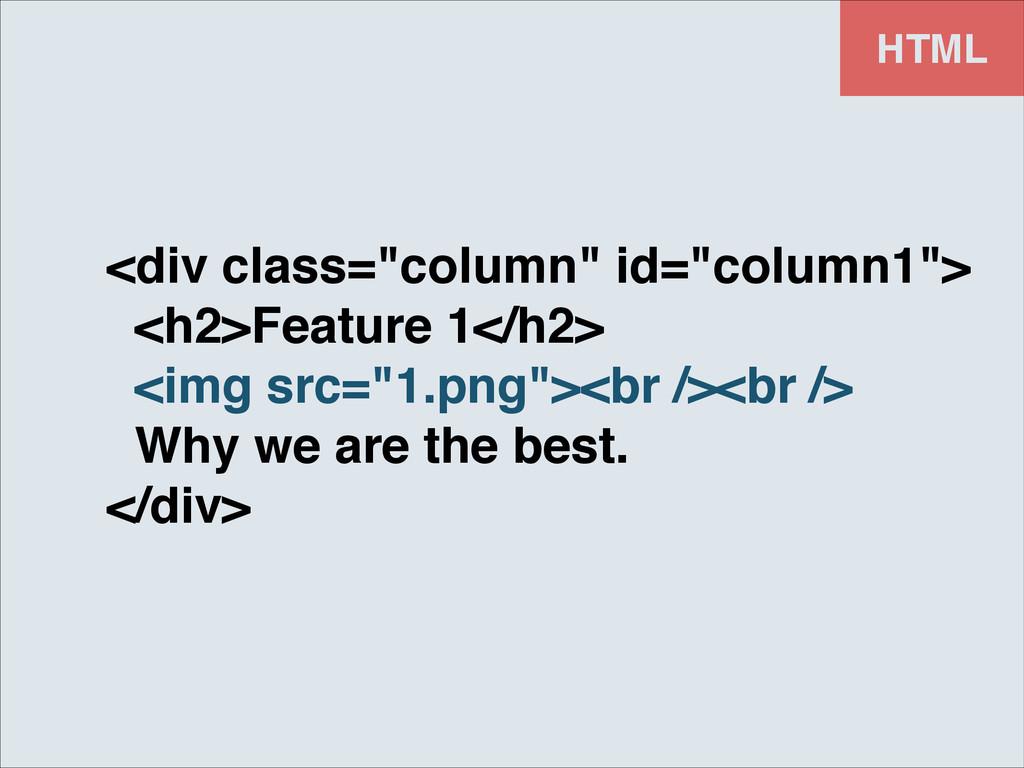 """HTML <div class=""""column"""" id=""""column1"""">! <h2>Fea..."""