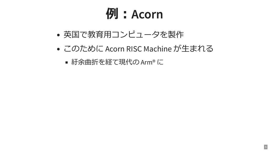 例:Acorn 例:Acorn 英国で教育用コンピュータを製作 このために Acorn RIS...