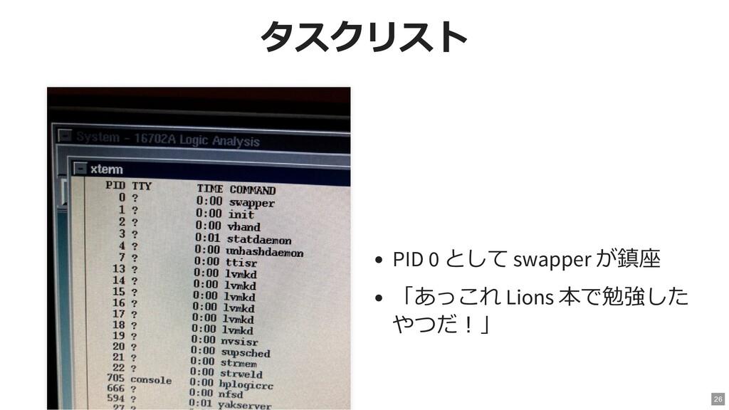 タスクリスト タスクリスト PID 0 として swapper が鎮座 「あっこれ Lions...