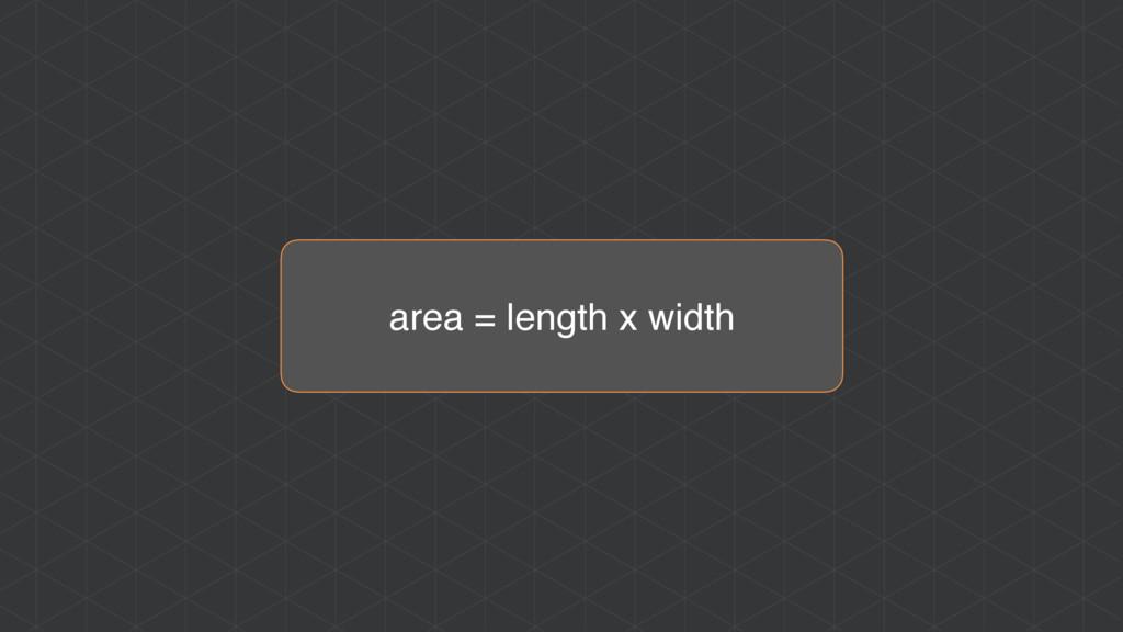 area = length x width