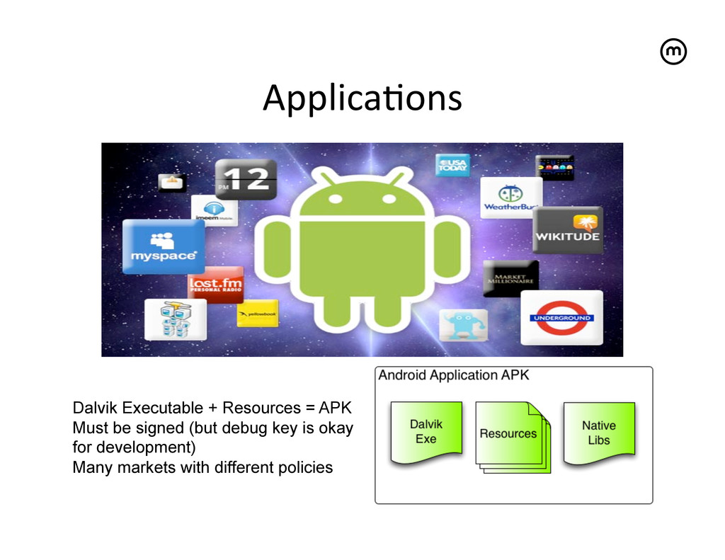 Applica<ons  Dalvik Executable + Resources =...