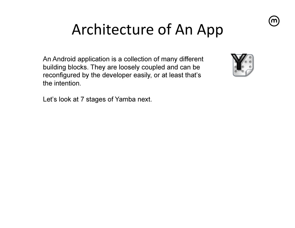 Architecture of An App   An Android...