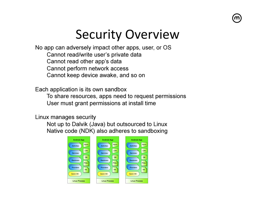 Security Overview   No app can adversely ...