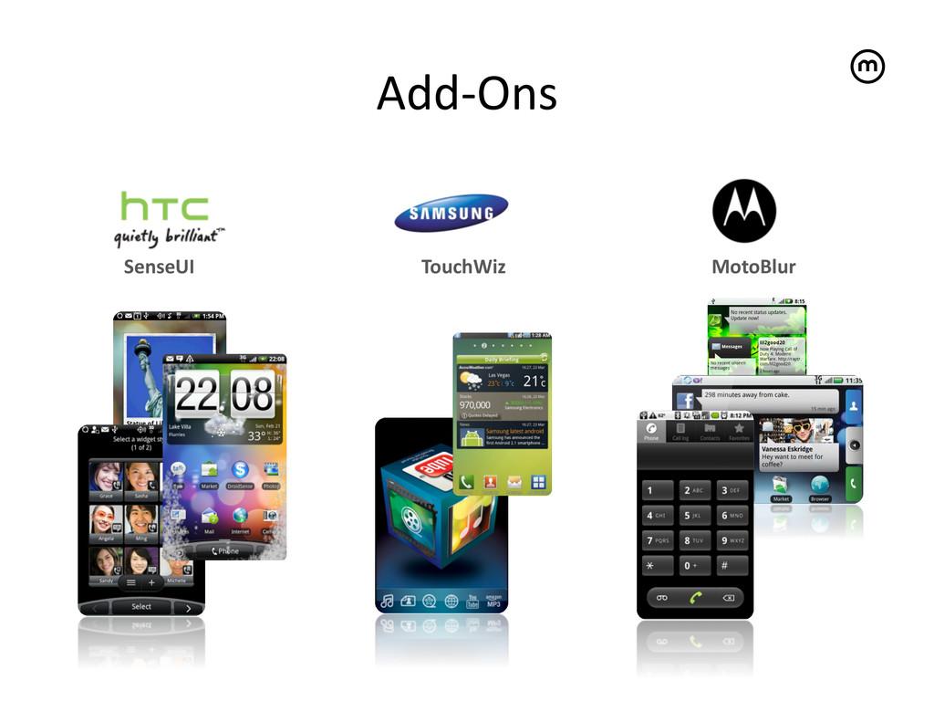Add-‐Ons   TouchWiz  MotoBlur  SenseU...