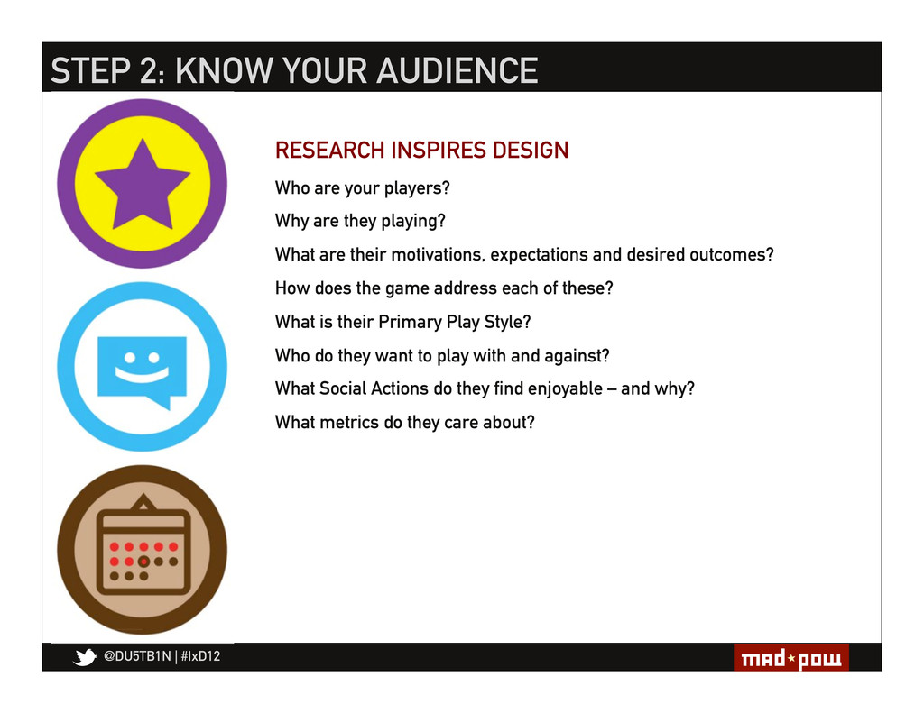 @DU5TB1N   #IxD12 STEP 2: KNOW YOUR AUDIENCE Wh...