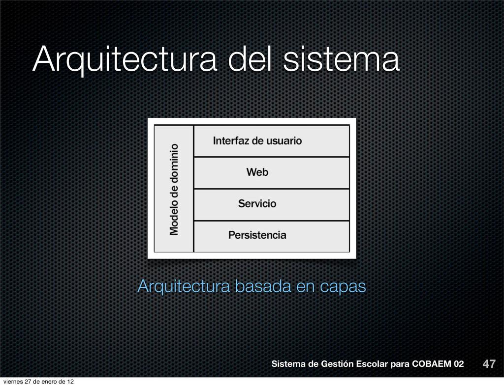 Arquitectura del sistema 47 Arquitectura basada...