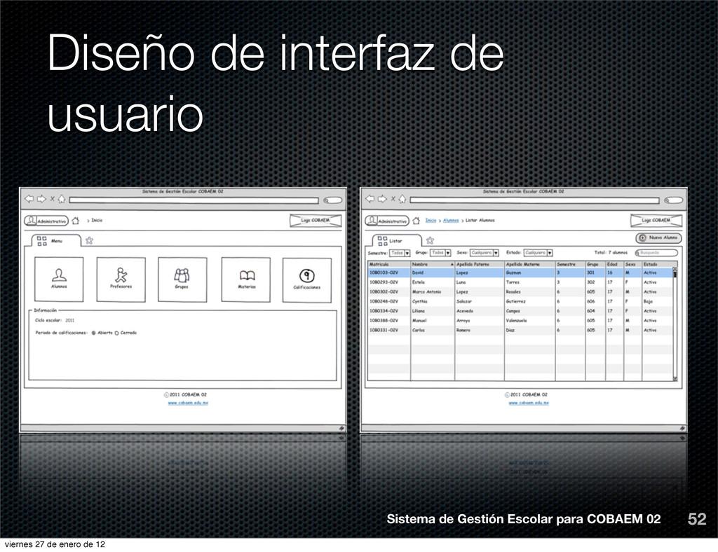 Diseño de interfaz de usuario 52 Sistema de Ges...