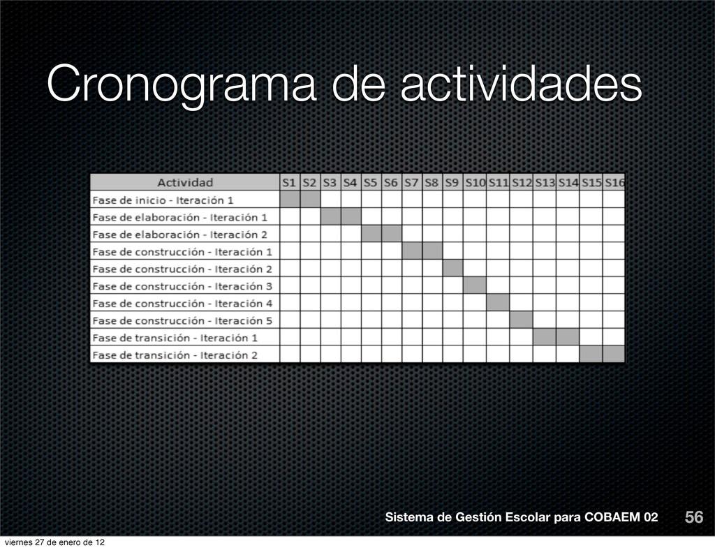 Cronograma de actividades 56 Sistema de Gestión...