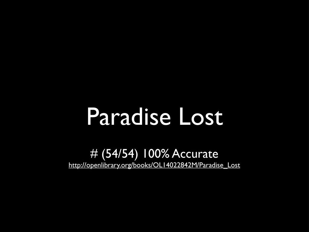 Paradise Lost # (54/54) 100% Accurate http://op...