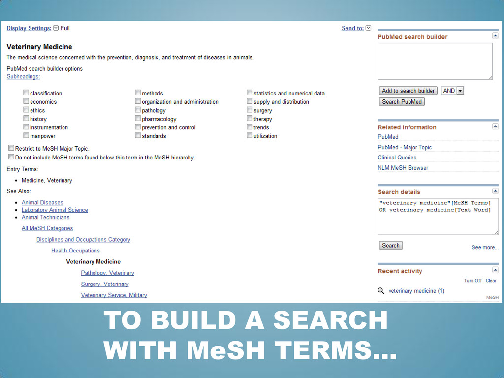 TO BUILD A SEARCH WITH MeSH TERMS…