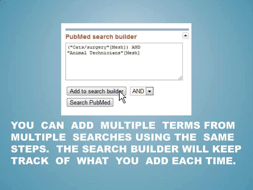 YOU CAN ADD MULTIPLE TERMS FROM MULTIPLE SEARCH...