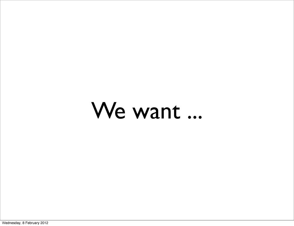 We want ... Wednesday, 8 February 2012