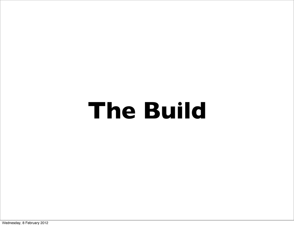 The Build Wednesday, 8 February 2012