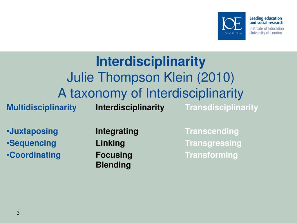 Interdisciplinarity Julie Thompson Klein (2010)...