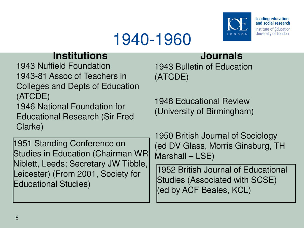 1940-1960 Institutions 1951 Standing Conference...