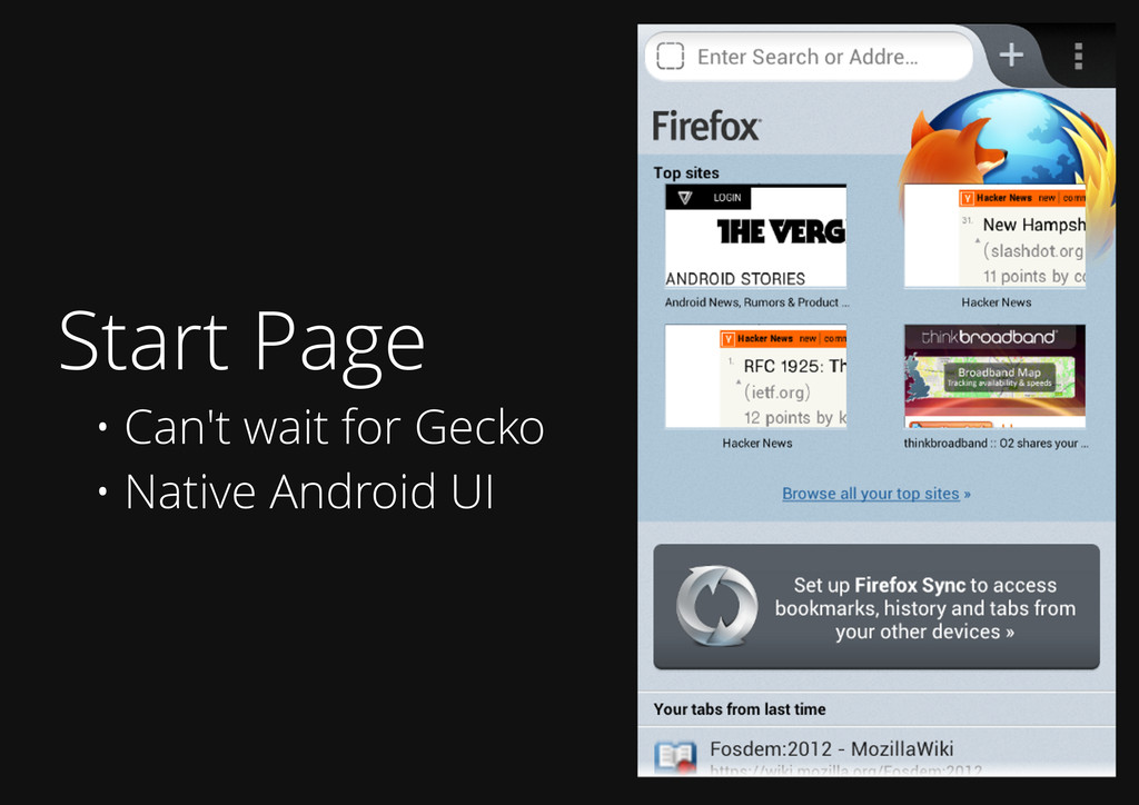 Start Page • Can't wait for Gecko • Native Andr...