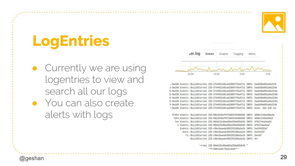 @geshan LogEntries ● Currently we are using log...