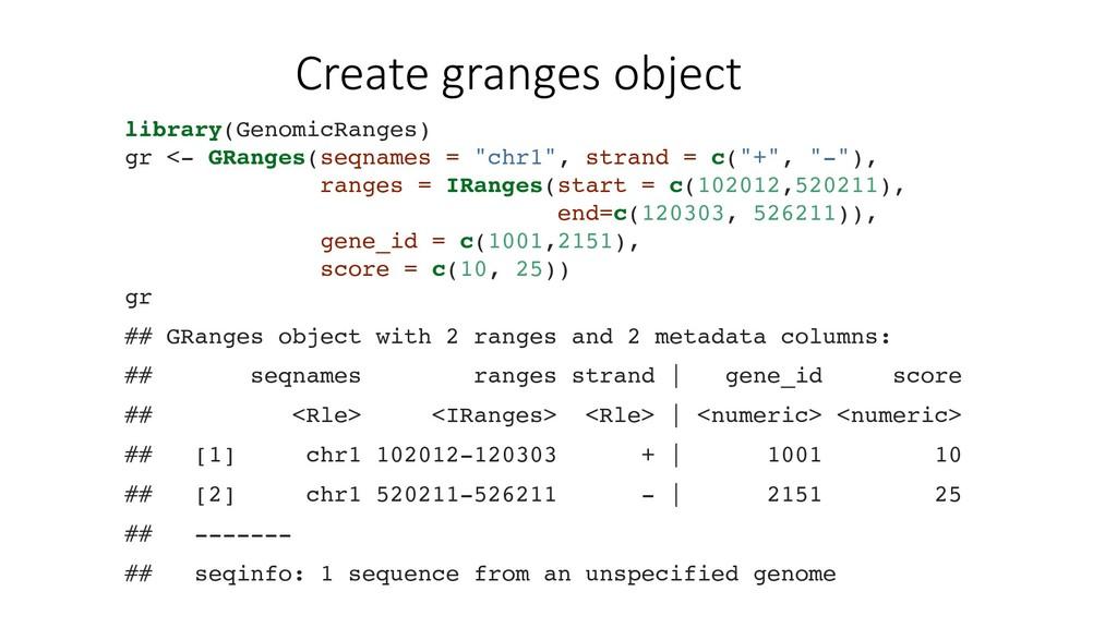 Create granges object library(GenomicRanges) gr...